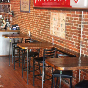 Wick's Pizza in New Albany Upstairs Pub/Band Side Hightop Tables, stage left